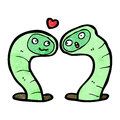 Cartoon snakes in love retro with texture isolated on white Stock Images