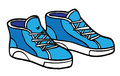 Cartoon sneakers blue and white illustration of these can be used as flashcards for babies toddlers or for language or other Stock Image