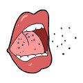 Cartoon sneezing mouth hand drawn illustration in retro style vector available Stock Photos