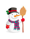 Cartoon snowman with a broom Royalty Free Stock Images