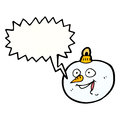 Cartoon snowman christmas bauble with speech bubble Royalty Free Stock Photos