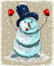 Cartoon snowman christmas card Stock Image