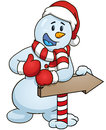 Cartoon snowman giving the thumbs up standing behind a sign arrow. Vector clip art illustration with simple gradients Royalty Free Stock Photo