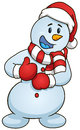 Cartoon snowman giving the thumbs up. Vector clip art illustration with simple gradients.