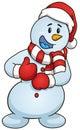 Cartoon Snowman Giving The Thu...