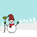 Cartoon snowman hand drawn Royalty Free Stock Photo