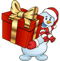 Cartoon snowman holding a gift Vector clip art illustration simple gradients