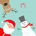 Cartoon Snowman, Santa Claus and deer. Blue background. Candy cane. Merry Christmas card. Flat design Royalty Free Stock Photo