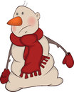 Cartoon snowman snowball with a red scarf and red gloves Stock Photo