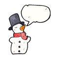 Cartoon snowman in top hat Stock Image