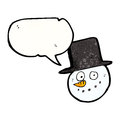 Cartoon snowman with top hat Stock Images