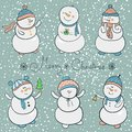 Cartoon snowmen set christmas illustration collection in style Royalty Free Stock Images