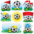 Cartoon soccer ball set Royalty Free Stock Image