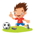 Cartoon soccer player with ball Stock Image