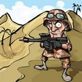 Cartoon soldier in the desert Royalty Free Stock Images