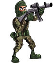 Cartoon soldier with gun and balaclava isolated on white Royalty Free Stock Photography