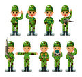 Cartoon Soldier icons set Royalty Free Stock Photo