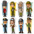 Cartoon soldier policeman agent and pilot character vector set