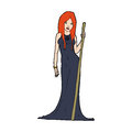 Cartoon sorceress hand drawn illustration in retro style vector available Royalty Free Stock Image