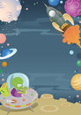 Cartoon space border illustration of a themed frame featuring planets aliens and spaceships Royalty Free Stock Image