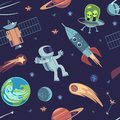 Cartoon space seamless background. Hand drawn galaxy pattern with spaceships satellites planets astronauts, kids doodle