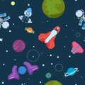 Cartoon space seamless pattern. Alien planets ufo rockets and missiles. Galaxy kid boy room vector wallpaper
