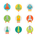 Cartoon Space Ship or Rocket Color Icons Set. Vector Royalty Free Stock Photo