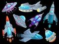 Cartoon spaceship. Futuristic space rocket vehicles, alien flight spacecraft ship ufo and aerospace rocketship isolated