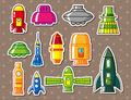 Cartoon spaceship stickers Royalty Free Stock Images
