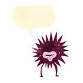 Cartoon spikey monster with speech bubble Stock Photography