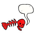 Cartoon spooky fish bones symbol with speech bubble Royalty Free Stock Image
