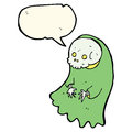cartoon spooky ghoul with speech bubble Royalty Free Stock Photo
