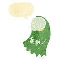 Cartoon spooky ghoul with speech bubble Stock Photo