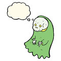 Cartoon spooky ghoul with thought bubble Stock Images