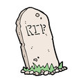 Cartoon spooky grave hand drawn illustration in retro style vector available Stock Photos