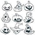 Cartoon spooky Jack O` Lantern pumpkins set outlined. Halloween vector illustration.