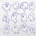 Cartoon spooky sketchy Ghost character vector set. Holiday monster design. Costume evil silhouette Helloween night Royalty Free Stock Photo