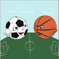 Cartoon sport balls on the field vector illustration Royalty Free Stock Image