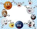 Cartoon Sport Balls Photo Frame Royalty Free Stock Photo