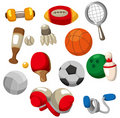 Cartoon Sport objects icon Stock Images