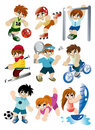 Cartoon sport player icon set Stock Photos