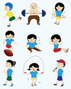 Cartoon sport player people icon Stock Image