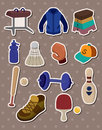 Cartoon Sporting Goods stickers Royalty Free Stock Photo