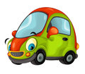 Cartoon sports car smiling and looking