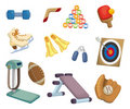 Cartoon Sports Equipment icons Royalty Free Stock Images