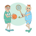 Cartoon sportsmen vector of two Royalty Free Stock Images
