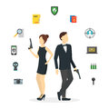 Cartoon Spy Couple and Icons Set. Vector