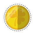 Cartoon st patricks day gold coin clover
