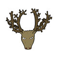 Cartoon stag head hand drawn illustration in retro style vector available Royalty Free Stock Photos