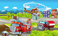 Cartoon stage with different machines for firefighting - trucks and helicopter - colorful and cheerful scene